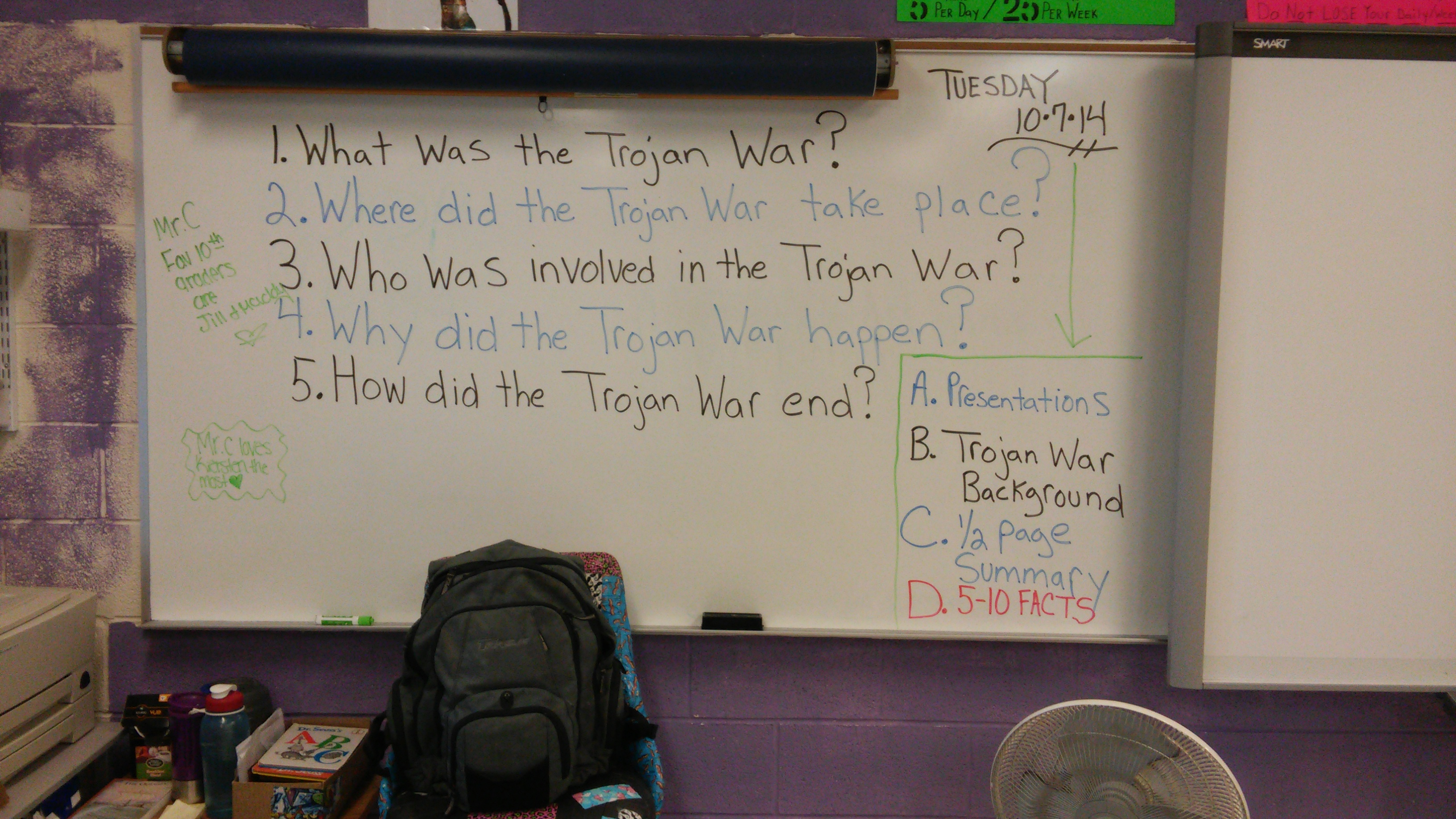 a daily agenda mr c s class learning is power write down 5 10 facts about the trojan war while viewing the presentation 4 create a 1 2 page summary about the trojan war based on